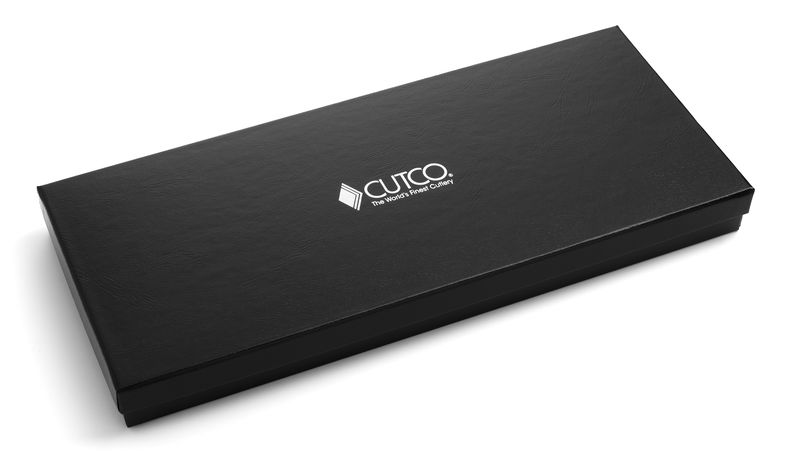 Closed Gift Box with embossed Cutco logo and the phrase Guaranteed Forever.