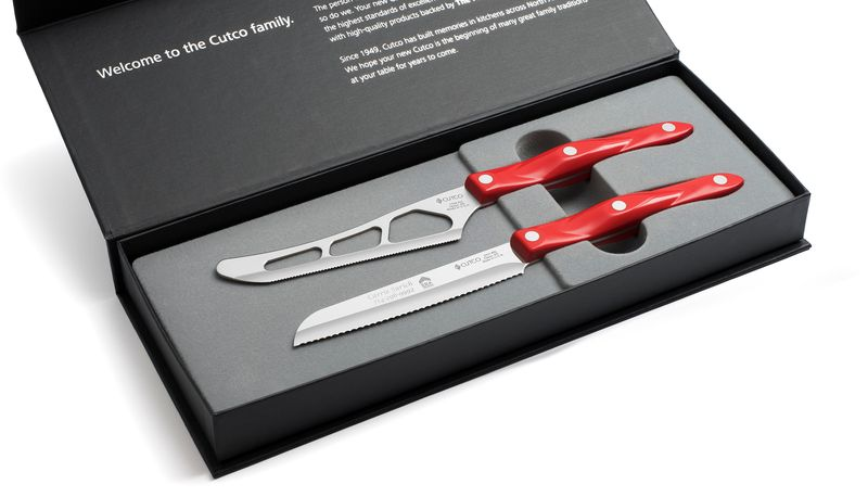 2 Products in Gift Box - Traditional Cheese Knife, Santoku-Style Trimmer,