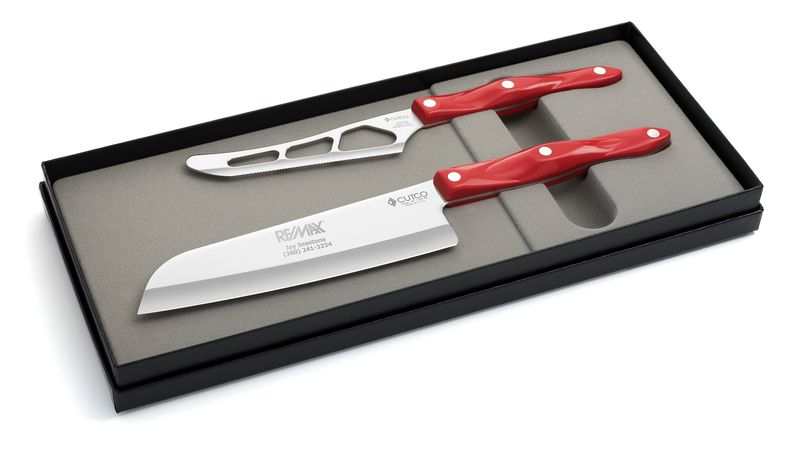 "2 Products in Gift Box - 7"" Santoku, Traditional Cheese Knife,"
