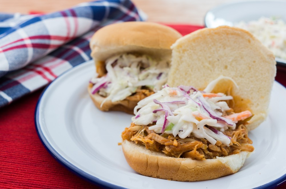 Slow-Cooker Barbecue Pulled Chicken Sliders