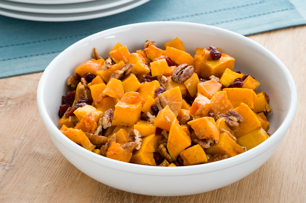 Roasted Butternut Squash with Pecans and Cranberries